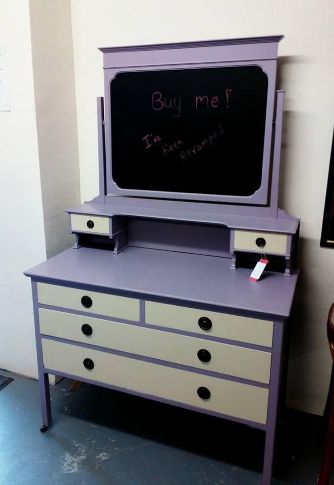 Upcycled dressing table into black board desk